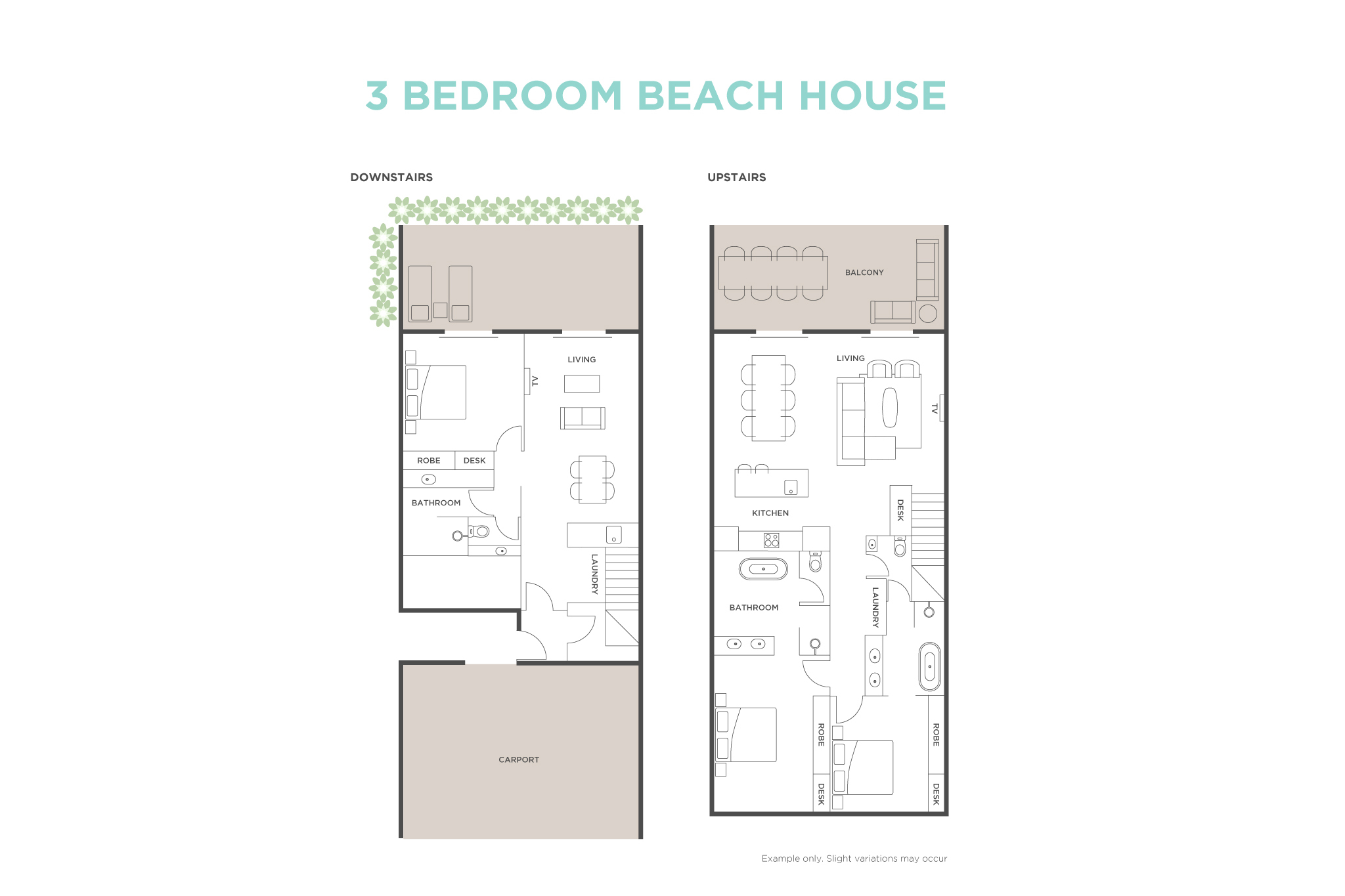 3 Bedroom Beach House floor plan