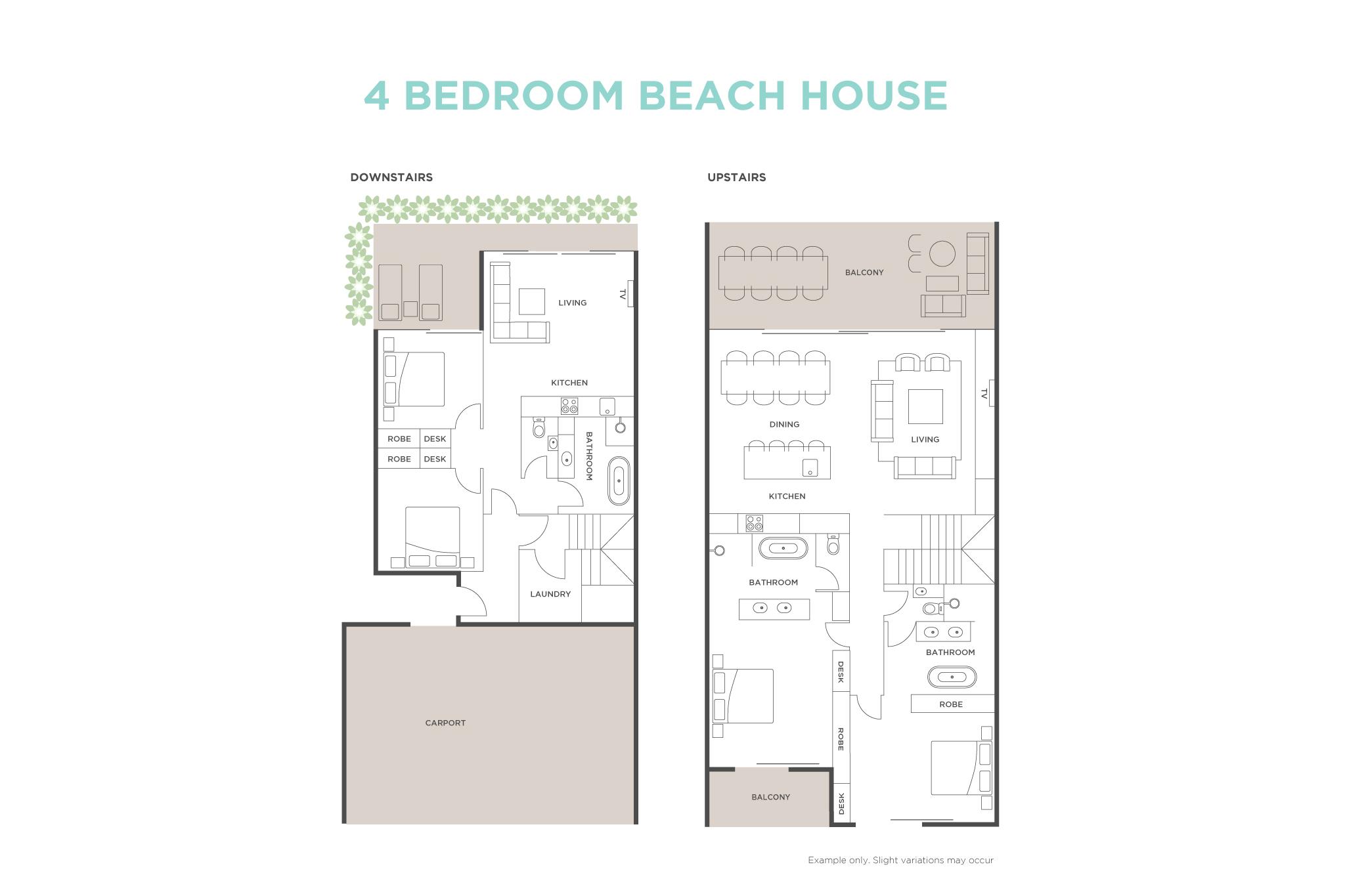 4 Bedroom Beach House floor plan