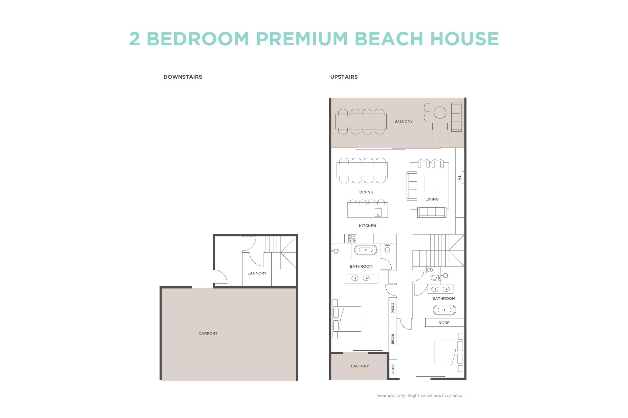 2 Bedroom Premium Beach House floor plan