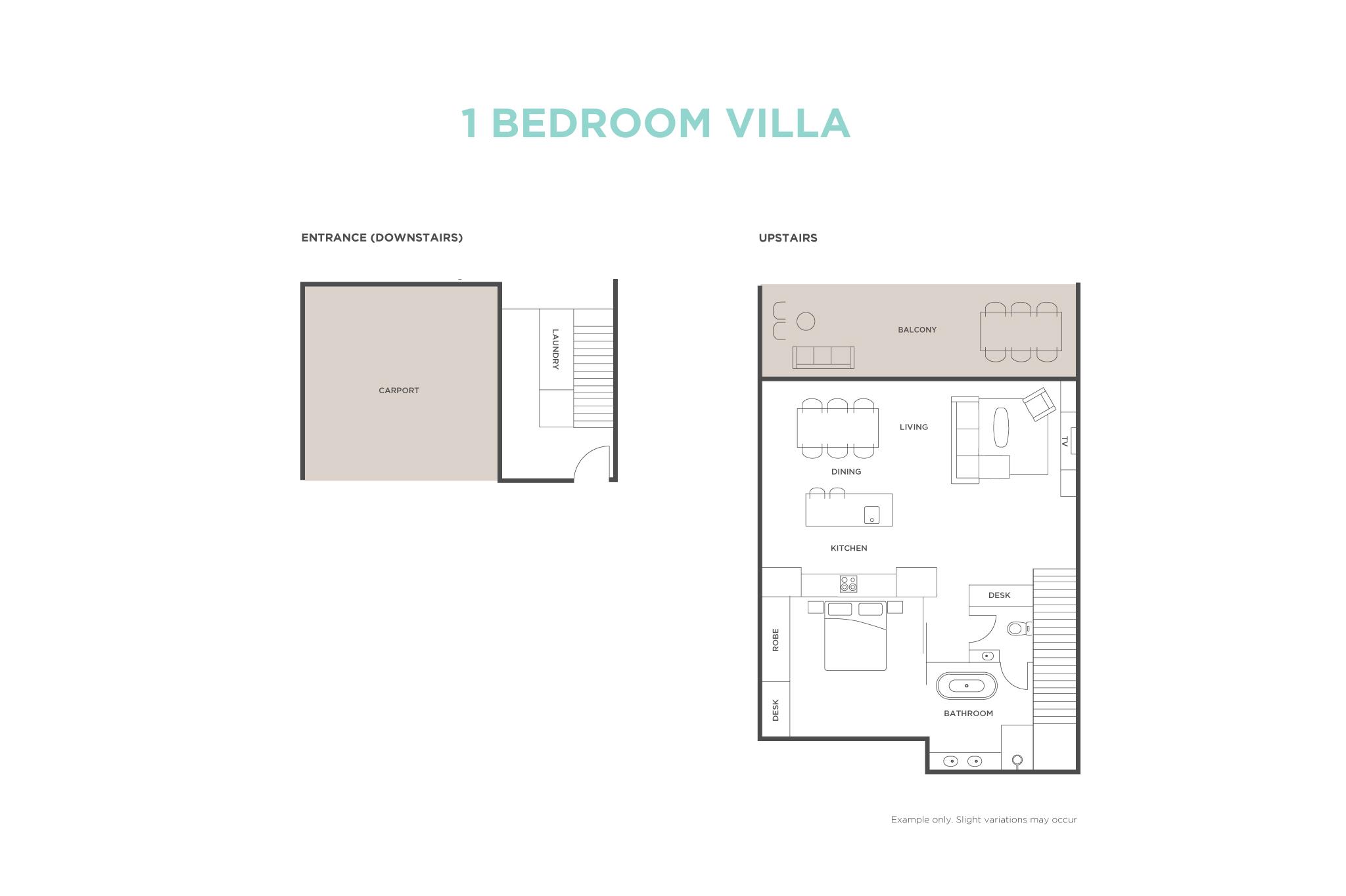1 Bedroom Ocean View Villa floor plan