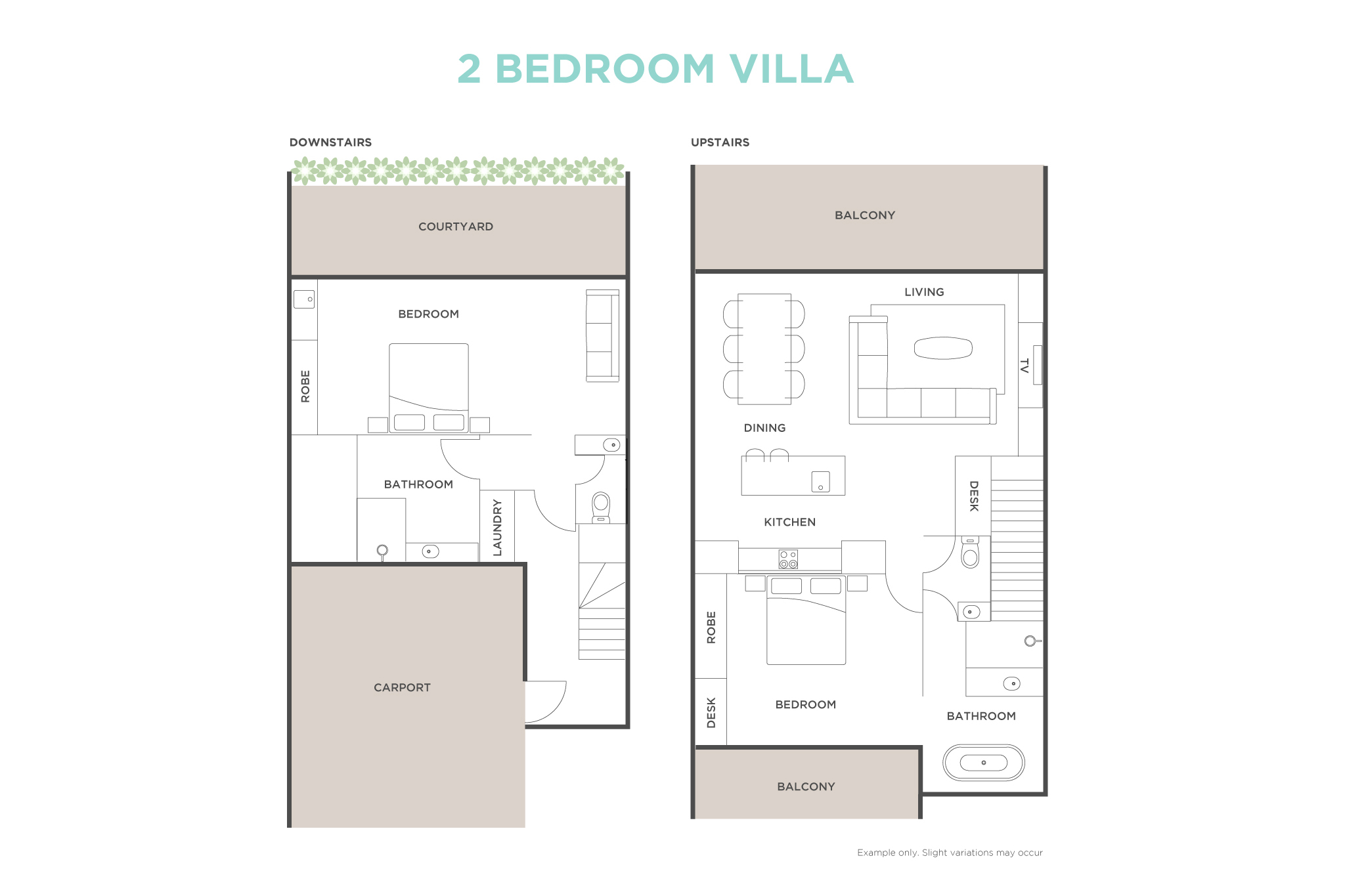 2 Bedroom Ocean View Villa floor plan