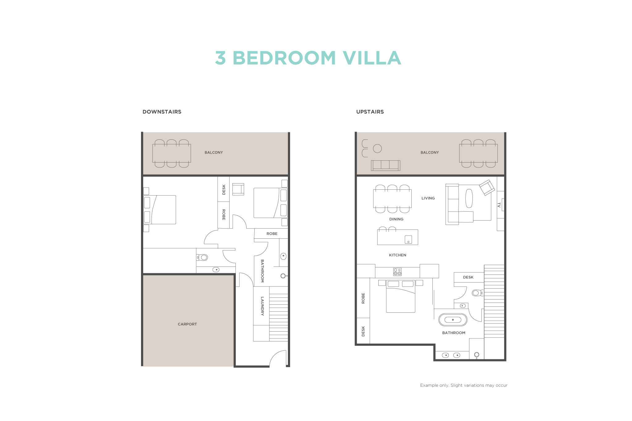 3 bedroom Ocean View Villa floor plan
