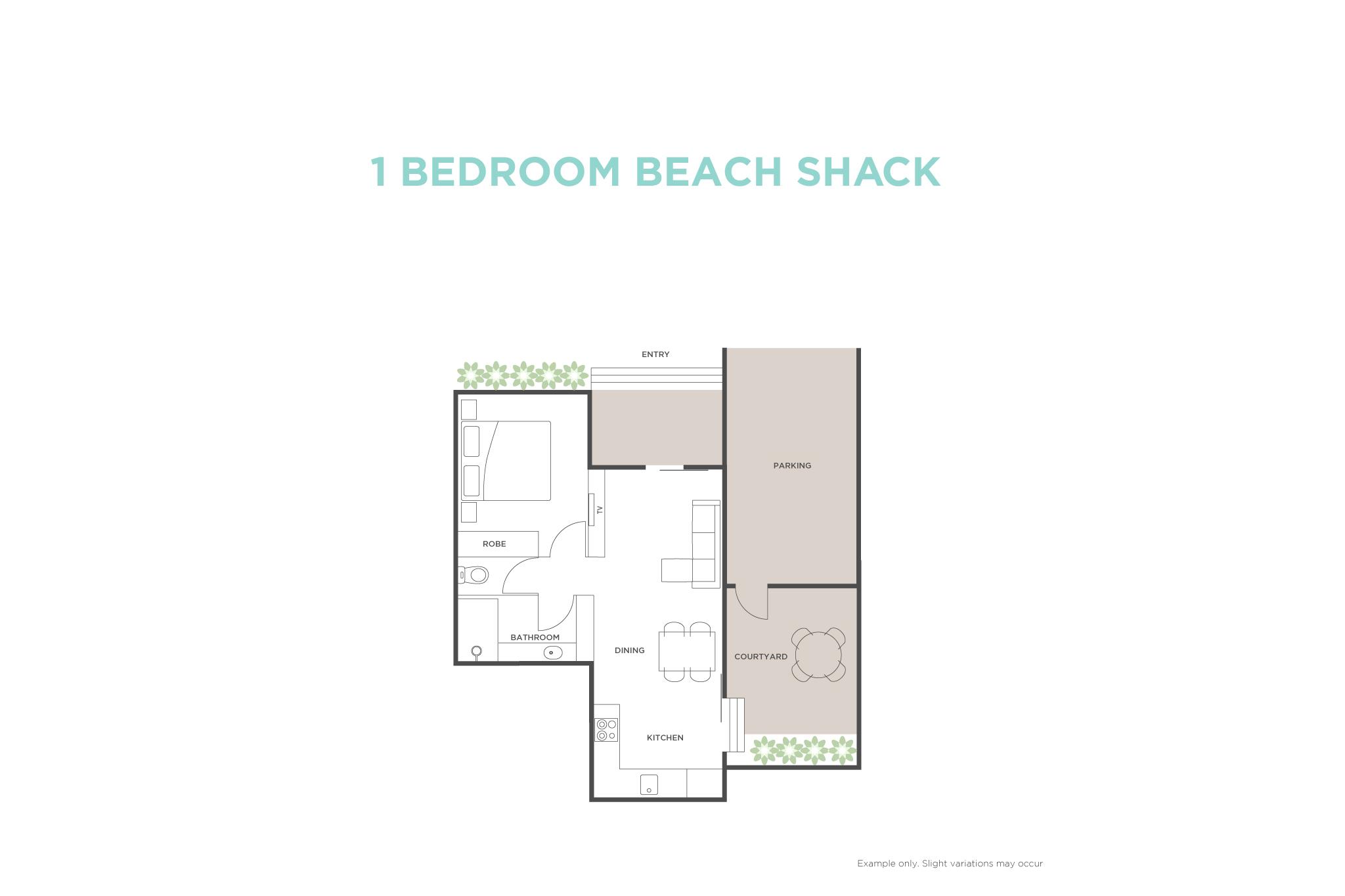 1 Bedroom Beach Shack floor plan