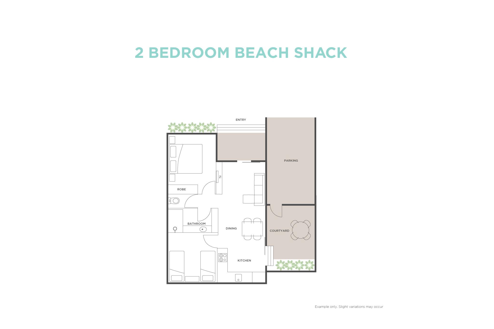 2 Bedroom Beach Shack floor plan